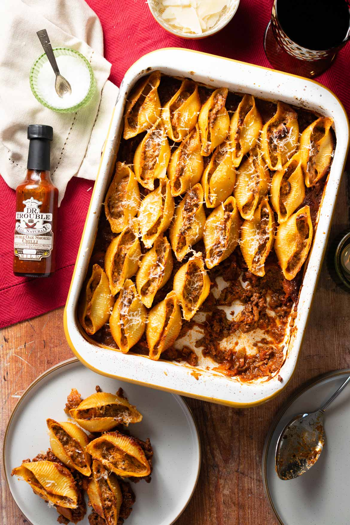 Dr-Trouble-Smoked-Chilli-Pasta-Shells-with-hot-sauce-bottle