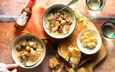 Dr-Trouble-Vegan-Roasted-Mushroom-Soup-with-Lemon-Chilli-Butter-with-hot-sauce-bottle